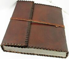 Handmade 10x12 Tri-fold Leather Journal Album with Lace Edging Sketchbook