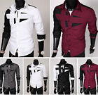 Men's Clothes Slim Fit Unique Neckline Long Sleeve Casual Shirt Tops Sz M-XXL