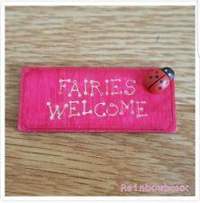 ☆☆ Tiny fairy/ Elf door accessories. Pink wooden welcome mat with ladybird ☆☆