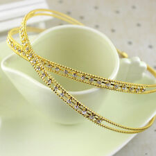 2Pc Fashion Metal Crystal Headband Head Piece Hair Band Jewelry Women Girl Lady