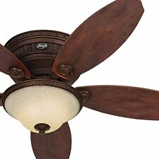 "52"" Hunter Low Profile Formal Tuscan Gold Ceiling Fan w/ Amber Scavo Glass Light"