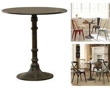 Antique Bronze French Industrial Bistro Round Rustic Metal Pedestal Dining Table