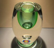 BERANEK Studio Art Glass Crystal Vase Emerald Green Hand Blown Czech Bohemia