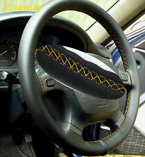 FOR CHRYSLER CROSSFIRE 03-07 ITALIAN LEATHER STEERING WHEEL COVER YELLOW STITCH