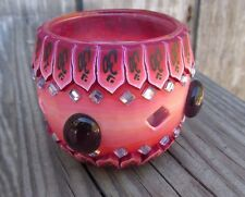NEW FIMO Polymer Clay Covered Glass Globe Votive Candle Holder Red, Purple Glass