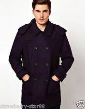 French Connection Duffle Coat Tamaño Mediano 40 Azul Marino Rrp £ 185