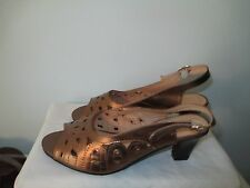 "Beacon Bronze Peep Toe Slingback leather laser designs 2.5"" heel 7.5W MSR $60"