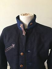 Mister Freedom Indigo Melton Wool Drover Jacket Coat 42 Medium MFSC Horsehide