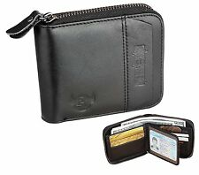 Admetus Men's Genuine Leather Short Zip-around Bifold Wallet Zero Purse Black 6