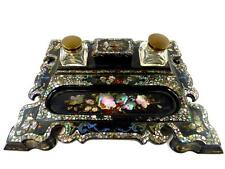 ANTIQUE VICTORIAN BLACK PAPIER MACHE LACQUER INKSTAND DESK STAND MOTHER OF PEARL