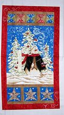 "Christmas Fabric Panel - 23"" Riverwoods Winter Magic Snowman & Tree Scene"