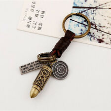 Cool Punk Men PU Leather Vintage Gold Bullet Type Keychain Key Ring Chain Keyfob