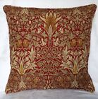 "William Morris Fabric Piped Edge Cushion Cover ""Snakeshead"" Claret / Gold"