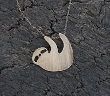 925 Silver Plt Brushed Style Sloth Necklace Pendant Girls ladies gift  Animal