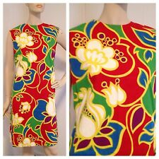 Vtg 60s/70s Floral Op Art Mod Shift Dress Psychedelic Print Hawaiian M/L