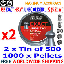 JSB EXACT HEAVY JUMBO ORIGINAL .22 5.52mm Airgun Pellets 2(tins)x500pcs