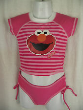 BNWT Little Girls Sz 2 Elmo Logo Pretty Pink Rash Top & Pants Swim Suit Set