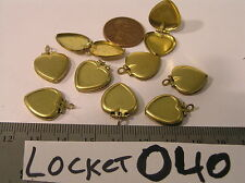 9 Vtg Heart Locket w Setting to add Guilloche cameo rhinestone Jewelry Findings