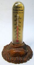 1930's SHRAM'S FUNERAL HOME Merrill WI advertising thermometer SYROCO devil base