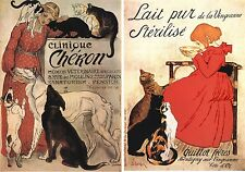 2 1890S French Cat Kitten Art Nouveau Poster Animal Prints Steinlen Posters P76