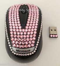CUSTOM CRYSTAL DESIGN MICROSOFT BABY PINK DIAMANTE USB OPTICAL WIRELESS MOUSE