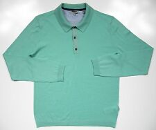 TED BAKER LONDON NWOT MENS 4 LARGE POLO SWEATER THIN 100% WOOL AQUA GREEN LUXURY