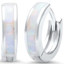 White Opal .925 Sterling Silver Hoop Huggie Earrings