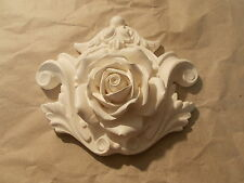 DECORATIVE FURNITURE MOULDINGS ORNATE ROSE CENTER PIECE WHITE RESIN