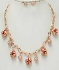 Rose Gold Knot and Crystal Ball Necklace Set