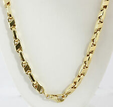 """69.20 gm 14k Yellow Gold Men's Bullet Italian Hollow Chain Necklace 26"""" 7.5 mm"""