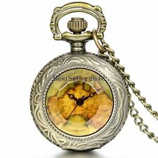 Retro Steampunk Vintage Bronze Map Old School Pocket Watch Pendant Necklace