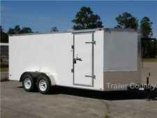 NEW 2017 7x16 7 x 16 V Nose Enclosed Cargo Trailer w/ Ramp