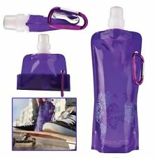 Folding Foldable Collapsible Water Plastic Bottle Bag For Outdoor Sport  Purple