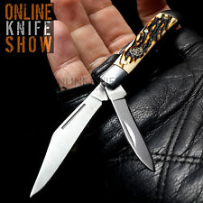 "5"" ELK RIDGE GENTLEMAN'S FOLDING KNIFE Simulated Bone Satin Pocket Blade TRAPPER"