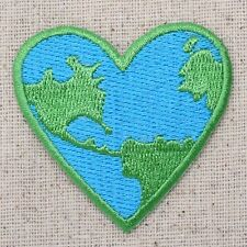Iron On Patch Embroidered Applique Ecology Planet Earth World HEART