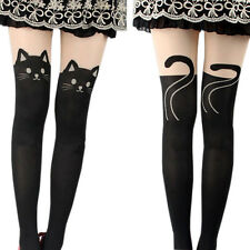 Girl Lady Sexy Cat Face Tail Tattoo Printed Knee High Stockings Tights Pantyhose