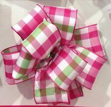 Cinta De Navidad 1.5m De Lujo Rosa Verde Cuadros/tartán Alambre Borde Cinta