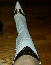 Vintage Leather knee high boot( ivory&bronze bcbg)