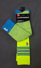 NWT 2 X PAIR UNDER ARMOUR WOMEN GREEN KNEE HIGH LOGO PERFORMANCE SOCKS SZ MD