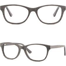 Plastik Damen Herren Brillenfassung Gestell Brillengestell Holzoptik Eckig Grau