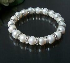 Armband Perlenarmband weiß Zuchtperlen 8mm Strass Schmuck Braut Hochzeit A1535
