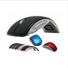 Optical Foldable Folding Arc Wireless Mouse Mice+USB 2.4G Snap-in Receiver Black