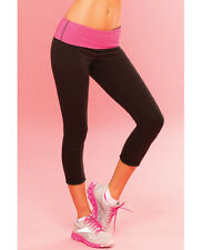 Pink Lipstick Sweat Yoga Pant Thick Reversble for Support & Compress Black Large