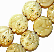 CARVED BONE ROUND KITTY CAT BEADS 24 BEAD STRANDS 17MM