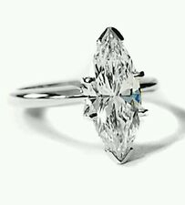 1.5ct Marquise Cut Men Made   Diamond   Solitaire Ring in 14K White Gold
