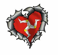 HEART Shape Carbon Fibre Ripped Metal Design & Isle Of Man Manx Flag car sticker