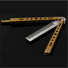 Stainless Steel Butterfly Balisong Comb Trainer Training Knife Dull Tool Golden