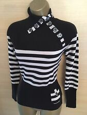 Exquisite Karen Millen Black White Button Detail Polo Neck Jumper UK10