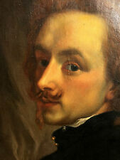 Antique 19th Century Dutch Masters Oil Painting Portrait Man School Rembrandt
