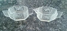 VINTAGE ETCHED CLEAR GLASS SUGAR BOWL AND CREAMER SET FLOWERS #27